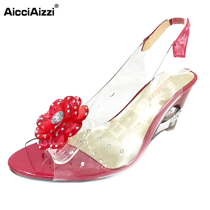 AicciAizzi Size 33-43 New Summer Sandals Women Peep Open Toe Wedge Sandals With Flowers Sweet Jelly Shoes Woman Shoes For Lady shoes women 2017 summer new sweet buckle open toe wedge sandals high heeled shoes platform sandals size31 32 33 41 42 43
