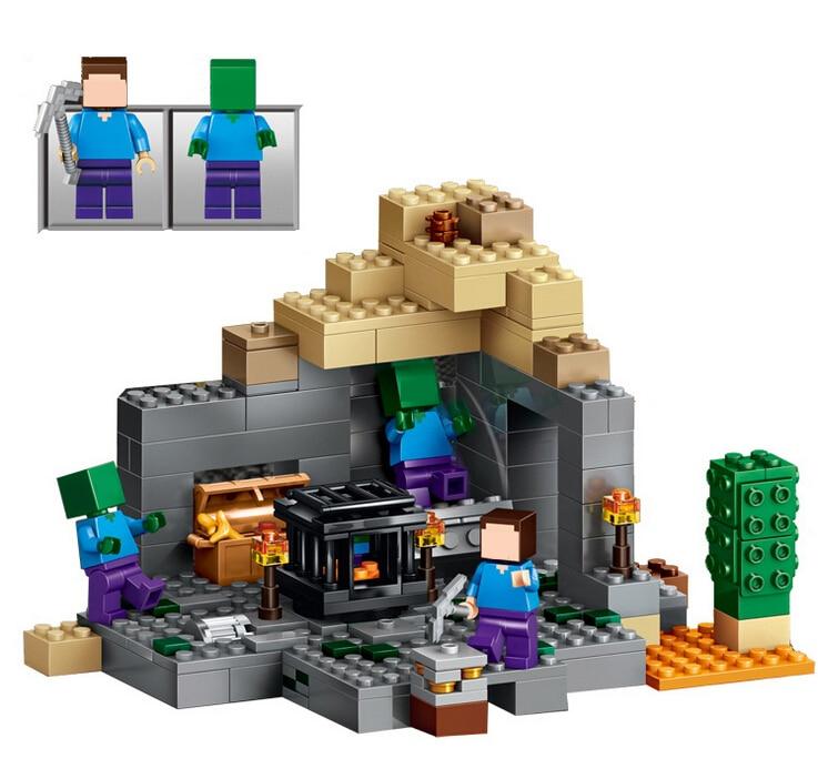 LELE BELA My world font b Minecraft b font Dungeon 237pcs Building Blocks Assemble Figure Enlighten