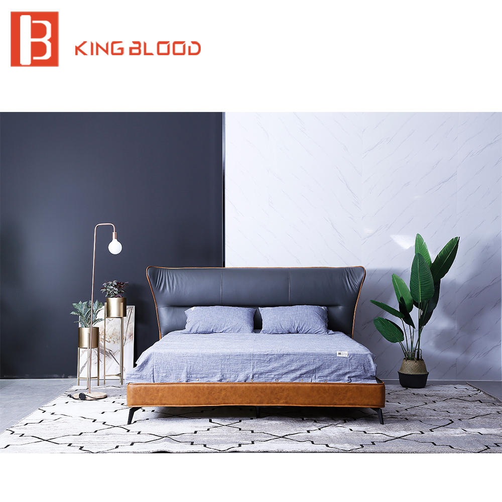 Hot Sale Italian Bed Frame King Size Leather Bed Designs