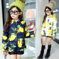 children thickening cotton-padded jacket child winter big girl teenage girl wadded jacket short design casual print outerwear