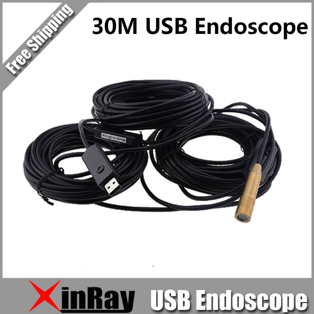 30m USB Endoscope Inspection Camera with 4 LED Waterproof Pure Copper Endoscope Borescope Tube Visual Camera XR-IC30E 7mm lens mini usb android endoscope camera waterproof snake tube 2m inspection micro usb borescope android phone endoskop camera