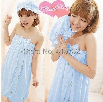 Free Shipping Sleeveless Bath Robe Women Terry Bathrobe Sleepwear Falbala Bowknot Nightgown Strap Bath Towel With Hair Bands