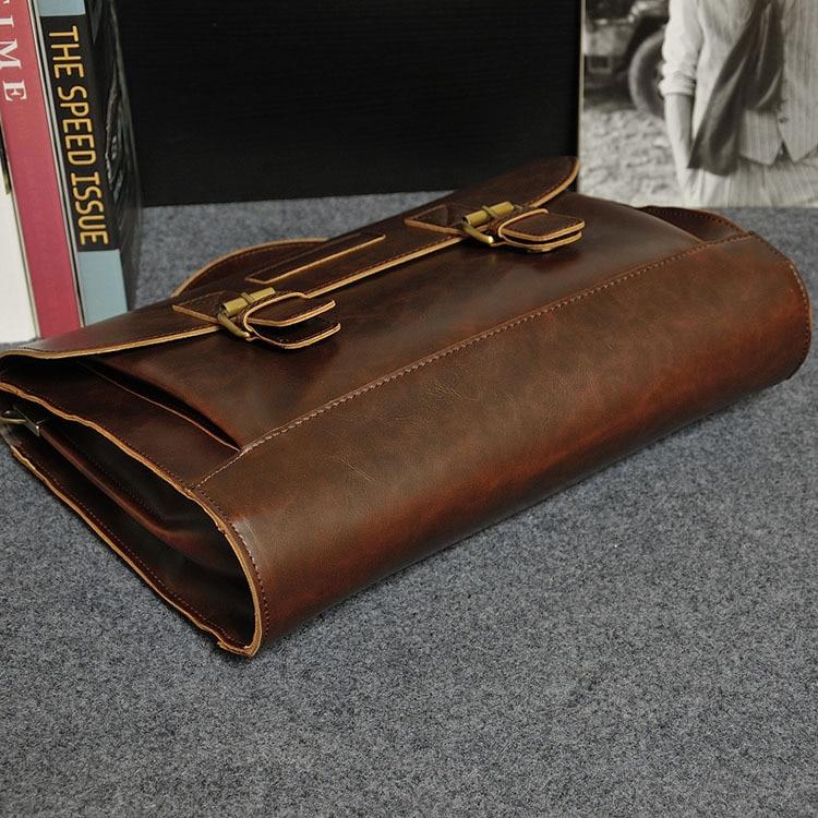 HTB1s9QsjnnI8KJjSszbq6z4KFXah Crazy Horse PU Leather Men Briefcase Famous Brand Men's Messenger Bag Male Laptop Bag Business Fashion Shoulder Bags Travel Bag