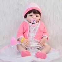 23 Inch Full Silicone Vinyl Reborn Doll 57 Cm Newborn Girl Bebe Fashion Realistic Reborn Bonecas Kid Gift can Bathe Brinquedos