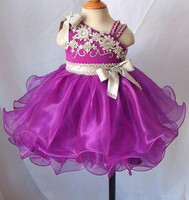 Gorąca Sprzedaż Najnowszy Mini Krótkie Tutu Flower Girl Dresses Zroszony Organza Maluch Korowód Sukienka Vestidos De Desfile Kids Party Suknie