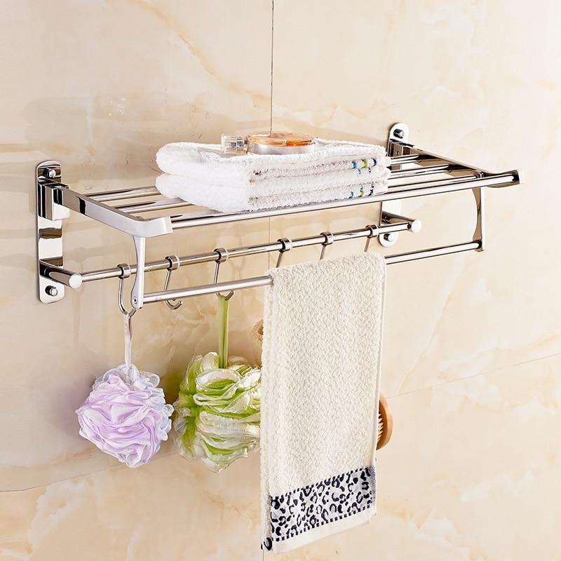 Free shipping Towel rack, stainless steel foldable bath towel rack 304 towel bar  bathroom rack, bathroom hardware hanger holder 304 stainless steel bathroom towel rack bar hangers more