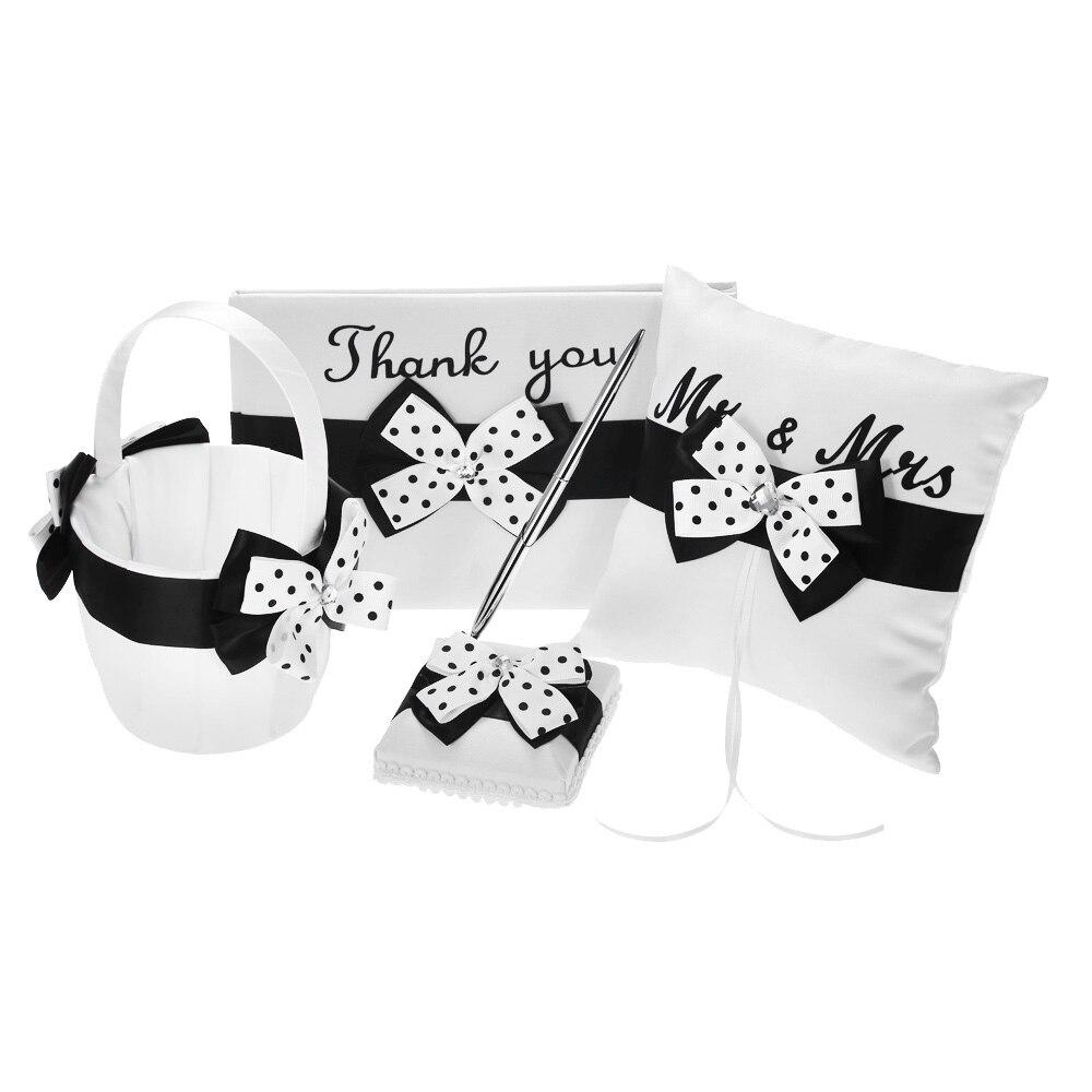 Fournitures de mariage 4 pièces/ensemble Satin fleur fille panier anneau porteur oreiller livre invité porte-stylo ensemble décor avec Bowknot blanc noir - 6