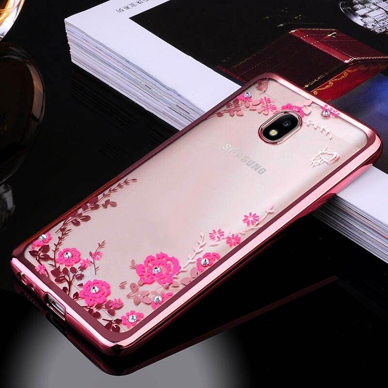 Frame Clear Case Cover For Samsung Galaxy J3 J5 J7 2017 J330 J530 J730 EU Eurasian Version Flora Diamonds Soft Cases