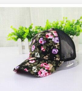 10 шт./партия,, корейский стиль, женская летняя повседневная бейсболка для взрослых, с принтом, солнцезащитная Кепка, регулируемая, с цветком розы - Цвет: black