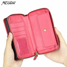 Multi function Mobile Wallet Case Samsung Galaxy S6 S7 S8 S9 case of large capacity zipper mobile phone case