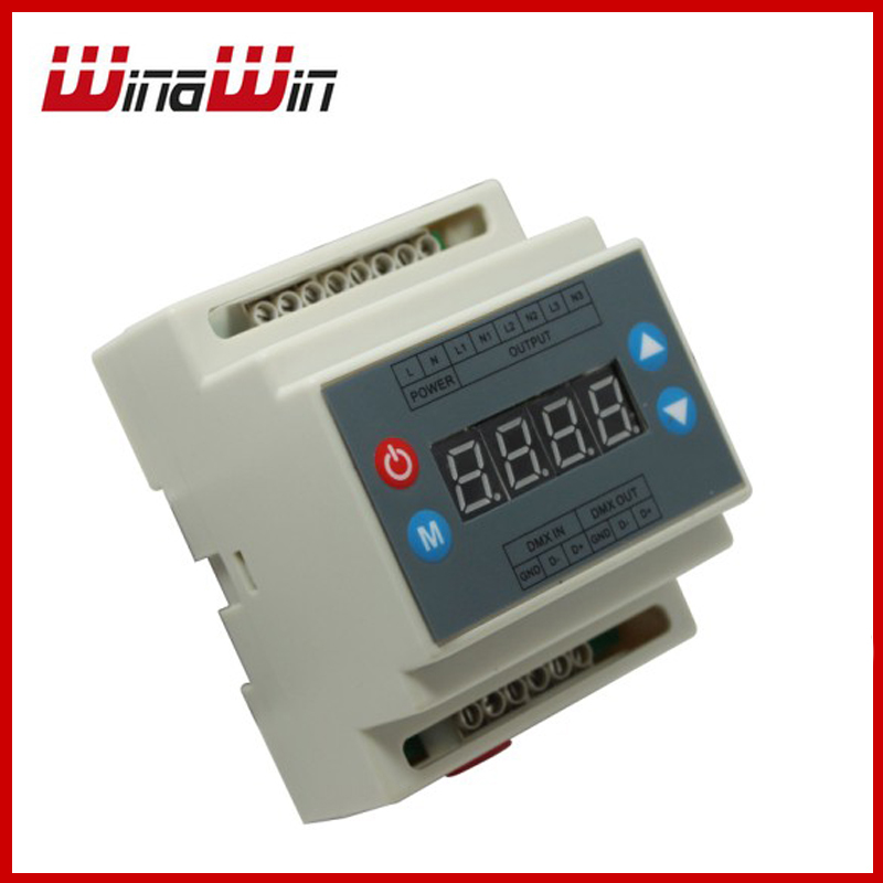 ФОТО Triac dimmer led brightness controller AC90-240V DMX302 3 channels 1A/channel for led strip light