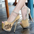 CDTS Summer Ankle strap sandals Fashion pearl rhinestone hasp 17/18cm ultra thin high heels open toe shoes women wedding pumps