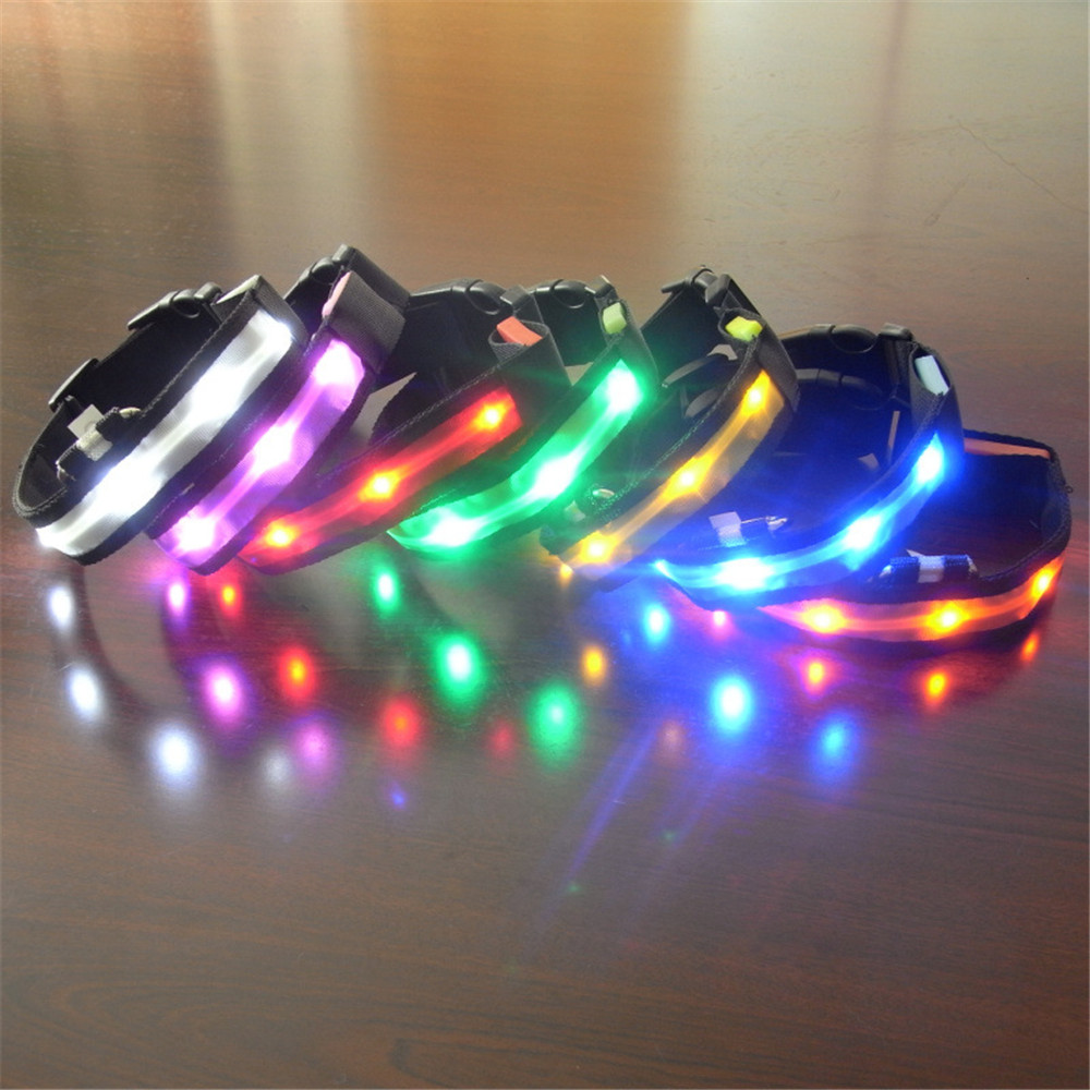 Puppy Pet LED Light Collar Warning Lights Luminous Collars Strap Dogs Nylon Style Lights Versatile led For Pets Light Free Ship