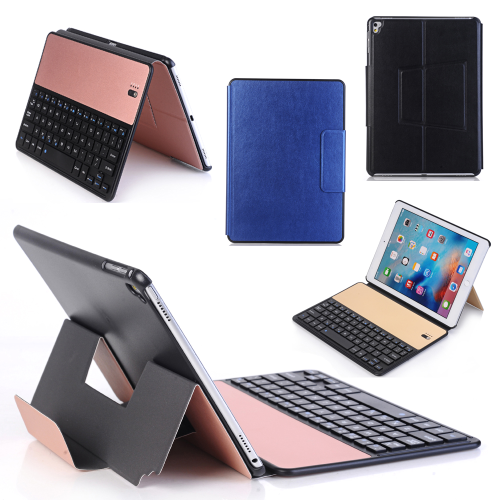цена Russian/Hebrew/Spanish Wireless Bluetooth Metal Alloy Keyboard Stand Leather Funda Case For Apple iPad 9.7 2017/Pro 9.7/Air/Air2