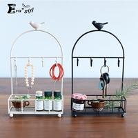 Retro Creative Irons Art Birds Desktop Jewelry Racks Girls Necklaces Hooks Display Shelves Dressers Accessories Storage