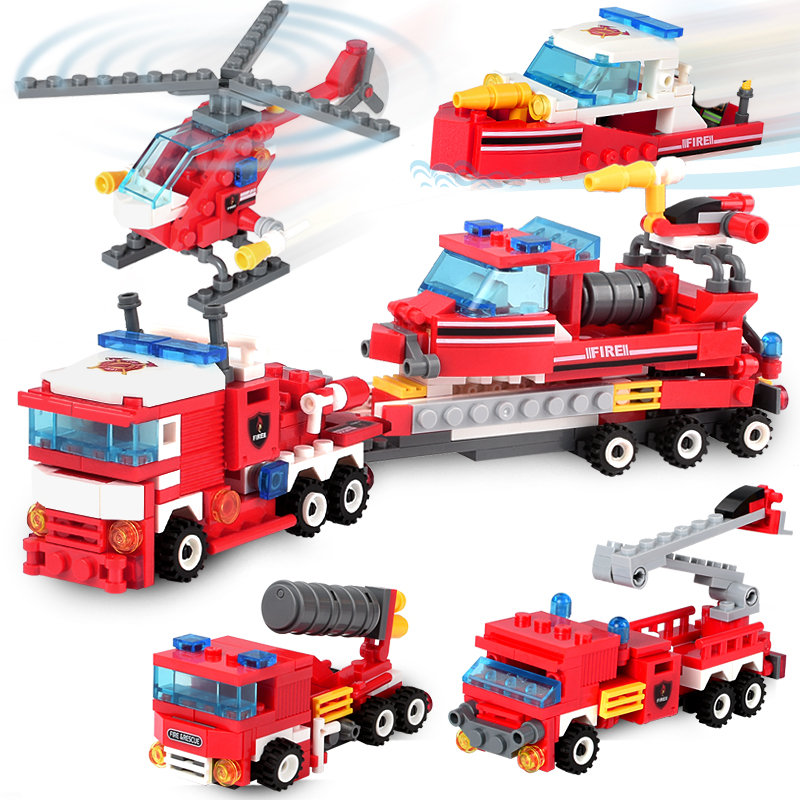 348+pcs Fire Fighting Blocks 4in1 Trucks Car Helicopter Boat Building Blocks City Firefighter Figures Toys For Children Gift