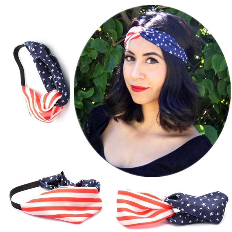USA Turban American Flag Headband 4th of July Head Wrap Ladies Women Hair Band