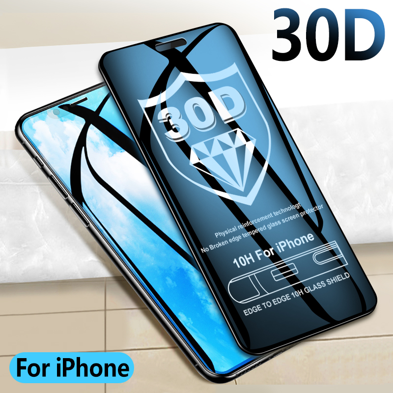 30D Protective glass on For iPhone X XR XS MAX Full Cover for iPhone 8 7 6 6s Screen protector Glass on iPhone X XR Curved edge(China)