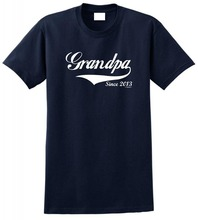 Custom Shirts Online Novelty O-Neck Short Sleeve Tees Grandpa Since 2013  For Men