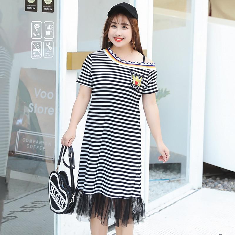 1eb14470eff6 MINSUNDA Plus Size Applique Asymmetric Off Shoulder Striped Dress Short  Sleeve Ruffle Mesh Hem A Line Dress Casual Women Dress-in Dresses from  Women's ...