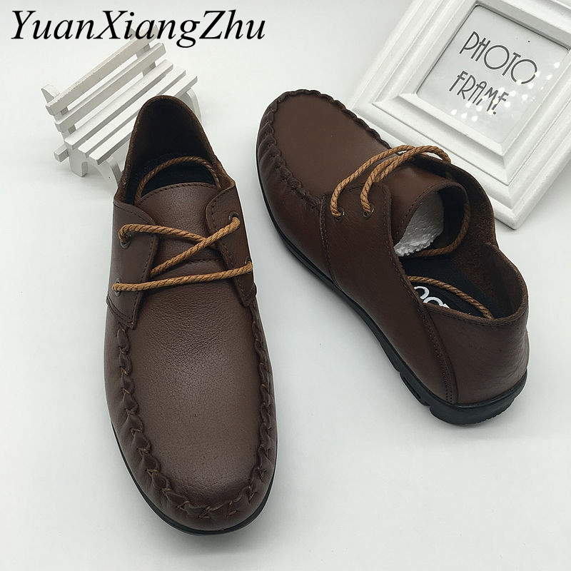 Genuine Leather Men Shoes Spring/Autumn Fashion Business Mens Shoes Lace-up Soft Comfortable Office Flat Shoes Men Casual Shoes osco men shoes spring autumn genuine leather business casual shoes round toe slip on comfortable low shoes office work shoes
