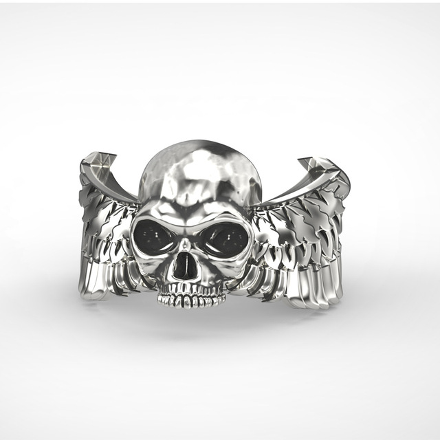 S925 sterling silver Wing Skull Ring adjustable Size Biker Cool Open Rings Punk Rock Jewelry Gift