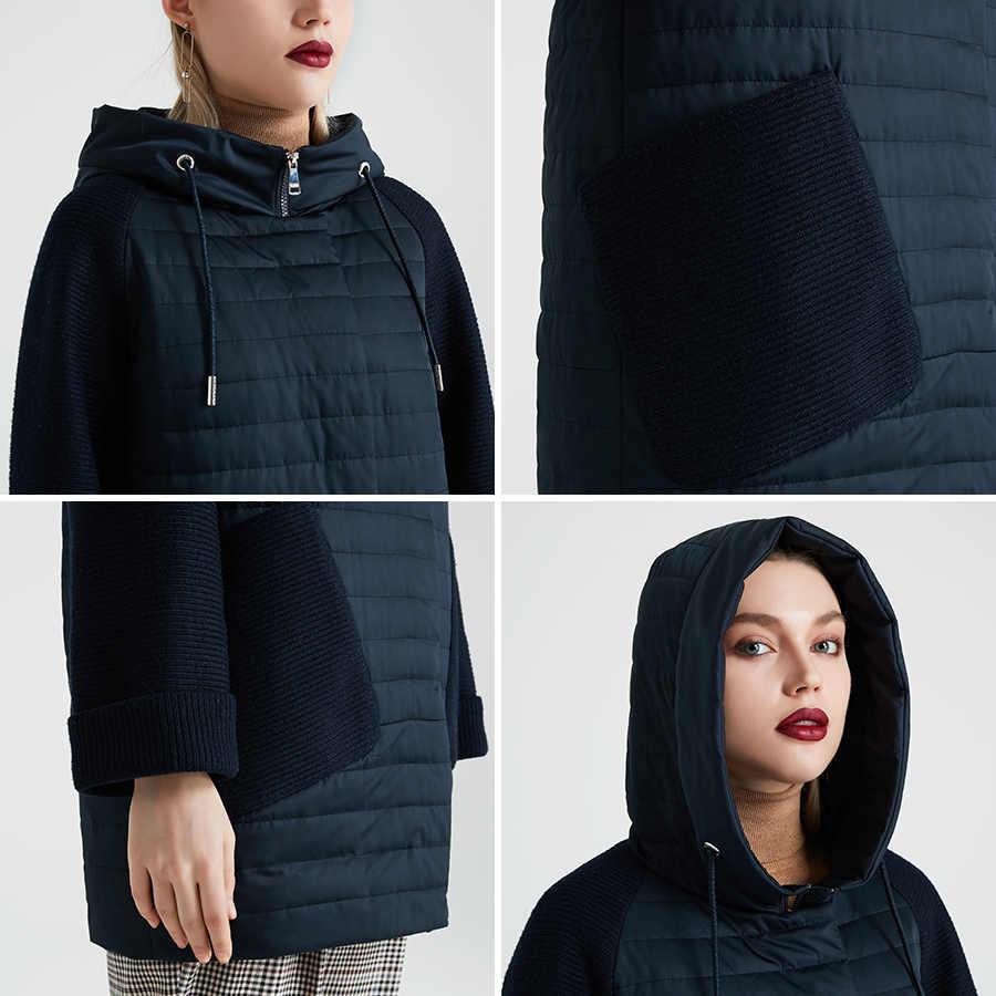 MIEGOFCE 2020 yeni koleksiyon kadın bahar ceket şık ceket Hood ile yama cepler çift koruma rüzgar Parka