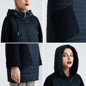 Image 5 - Miegofce 2020 nova coleção feminina primavera casaco elegante com capuz remendo bolsos dupla proteção contra vento parka