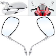 2pcs 10mm Modified Plated Universal Motorcycle Rearview Mirror Side Mirrors Left and Right for Motorbike