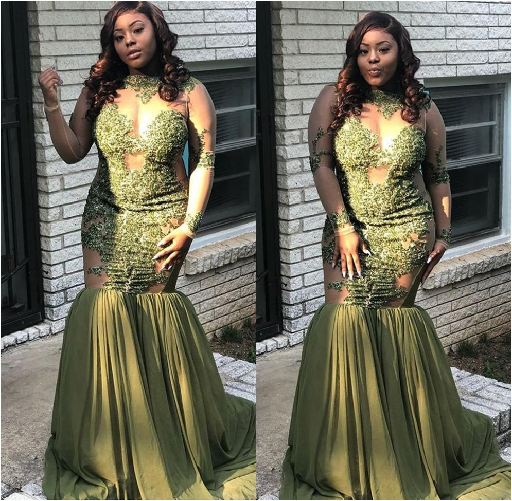 Sexy See Through African Girls Green Plus Size   Prom     Dresses   2019 Long Sleeve Appliques Lace Women Long Party Evening Gowns