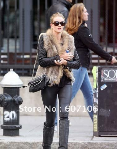 HOT* 100% Real Rabbit Fur Vest With Raccoon Collar Trimming ...