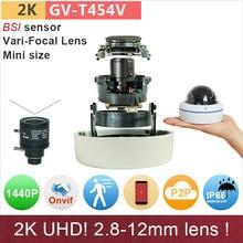 2.8-12mm 2K UHD(4*720P) IP camera mini dome 4mp/1080P full HD ONVIF cctv surveillance camera outdoor waterproof GANVIS GV-T454V