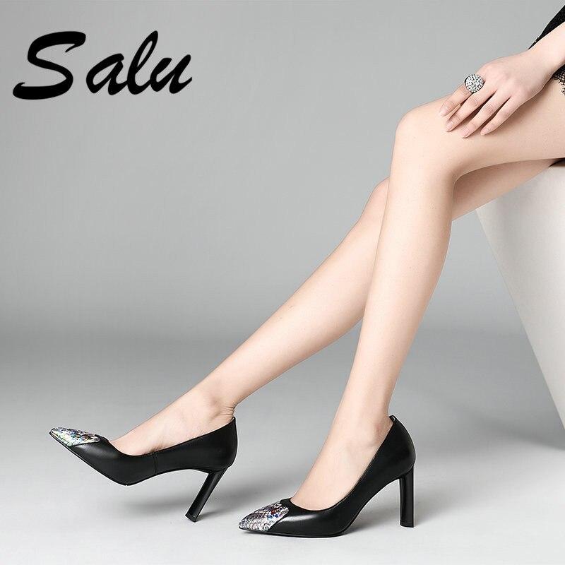 Femme Weet 2019 noir Pompes En Salu Partie Nouvelle Noir Élégant Beige Haute Chaussures D'été Femmes Arrivée Talons Cuir Véritable QdCrths