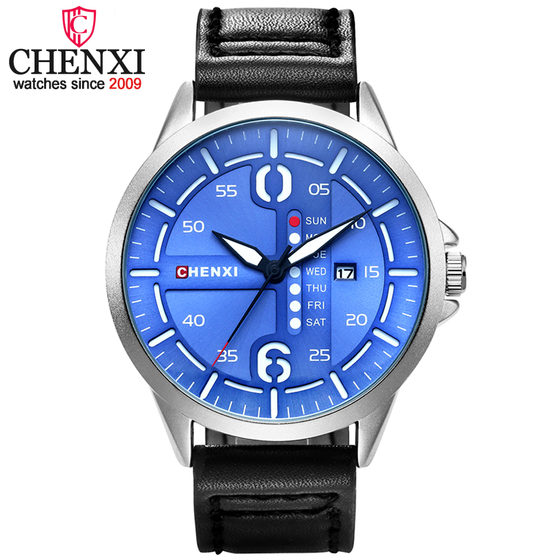 CHENXI Men Leather Watches Man Fashion Casual Quartz Watch Male Clock Calendar Dial Wristwatches  Relogio Masculino xfcs comtex watch men new simple fashion quartz wristwatches men watches luxury leather band casual gentlemen clock man gift relogio