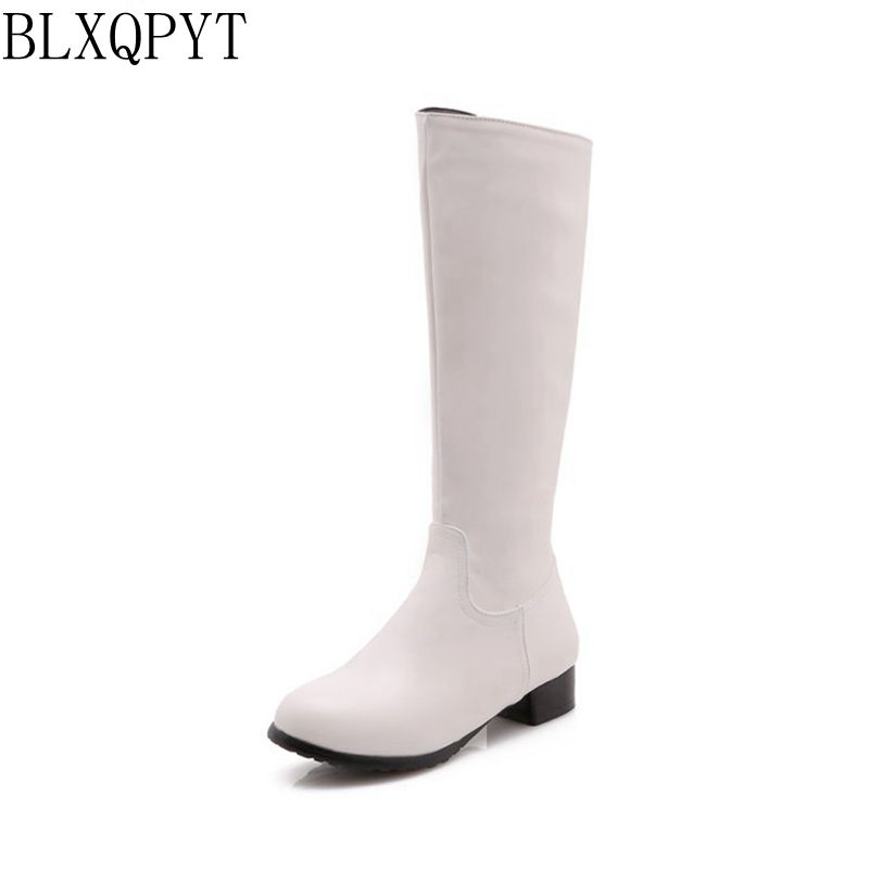 BLXQPYT 2018 New Big size 32-47 Autumn Winter Knee- high Boots Women Shoes Round Toe low heel Long causal zipper Boots 218-31 цены