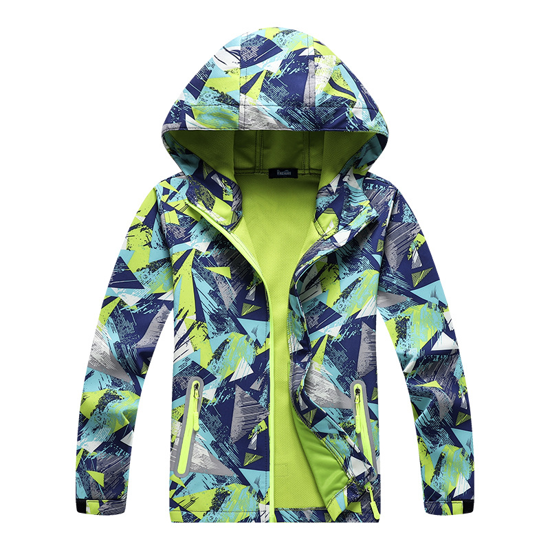 Image 3 - Children Outdoor Jackets Coats Boys Composite Soft Shell Waterproof Breathable Hooded Jacket Kids Cotton Fashion Jackets-in Jackets & Coats from Mother & Kids