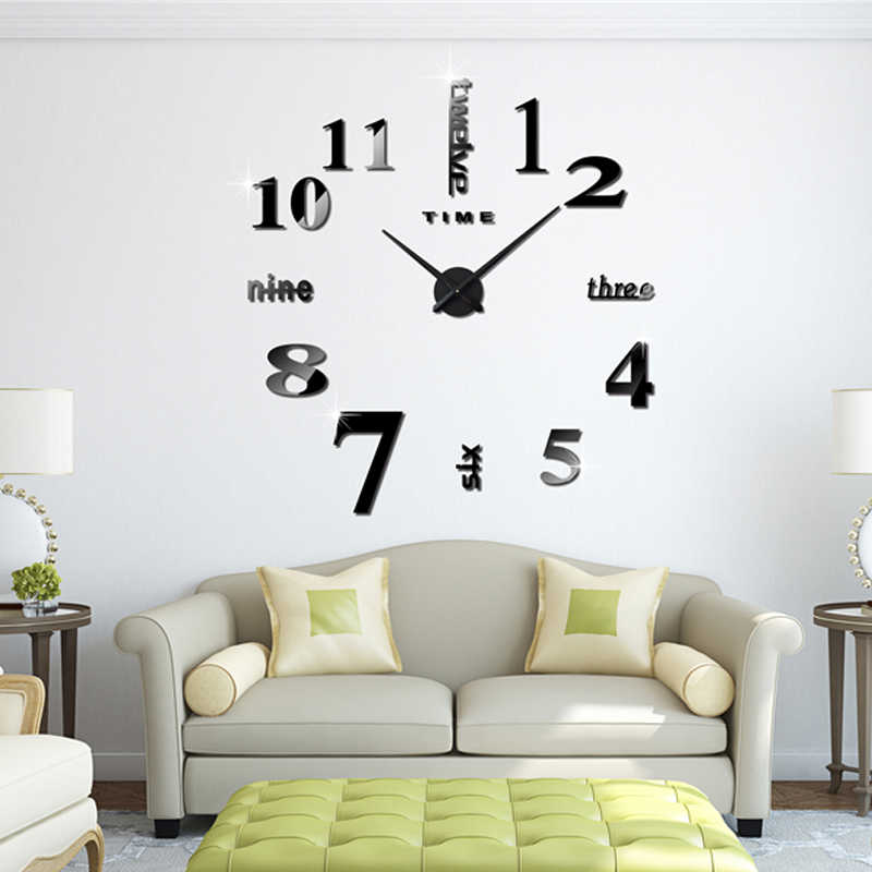Muhsein 2019 新ファッションビッグサイズ壁時計ミラーステッカー DIY 壁時計簡単なリビングルームの装飾壁時計送料無料