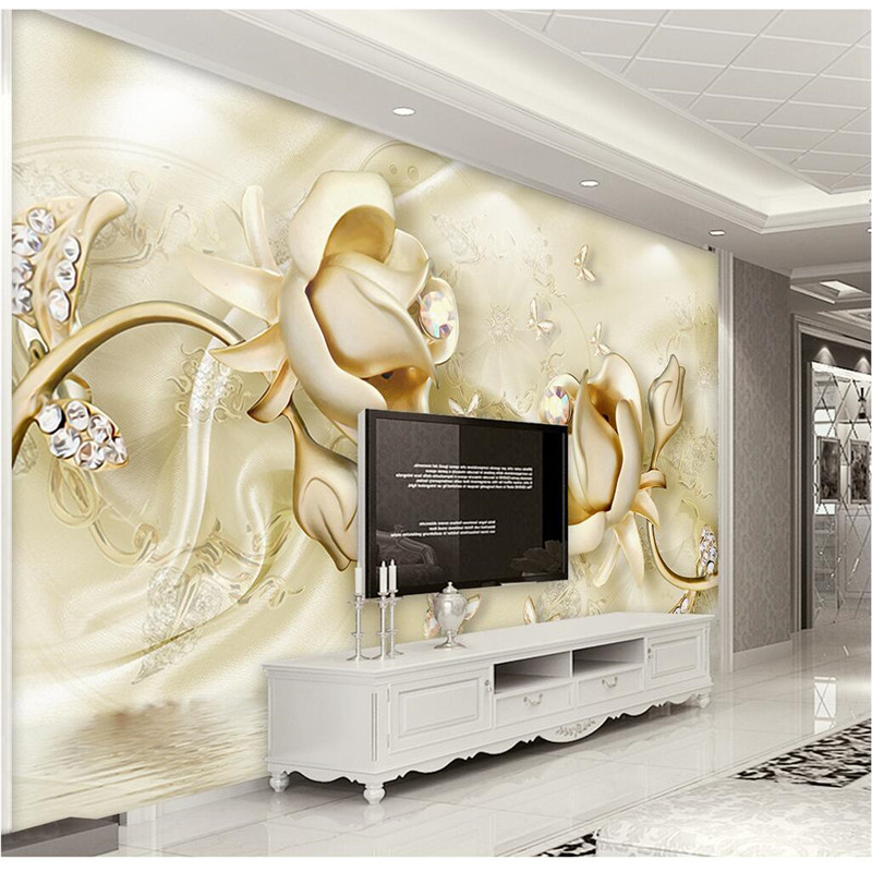 Custom Any Size Modern Wall Wallpaper Pearl Butterfly Silk: Custom Any Size Photo Background Wallpapers Silk Rose