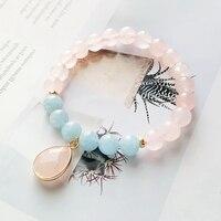 Lii Ji Gemstone Natural Rose Quartz,Aquamarine 925 Sterling Silver 18K Gold Plated Elegant Bracelet Nice Gift For Women