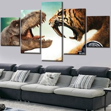 Jurassic World Movie 5 Pieces Paintings Canvas Wall Art Home Decor Living Room Modern Picture