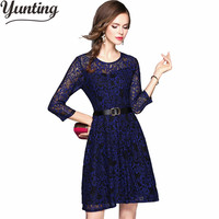 2019 New Lace Embroidery Runway Dress Autumn Womens Slim Party Dress