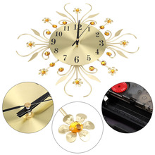 European Style Vintage Metal Wall Mounted Clock Luxury Diamond Large Modern Design Home Decor