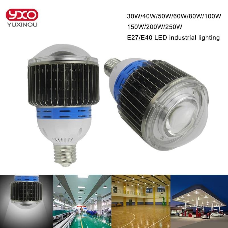 30 w 50 w 60 w e27 e40 led ampoule 100 w 120 w 150 w 200 w 250 w lumière led haute baie ampoule pour l'industrie, usine, entrepôt, supermarchés ampoule