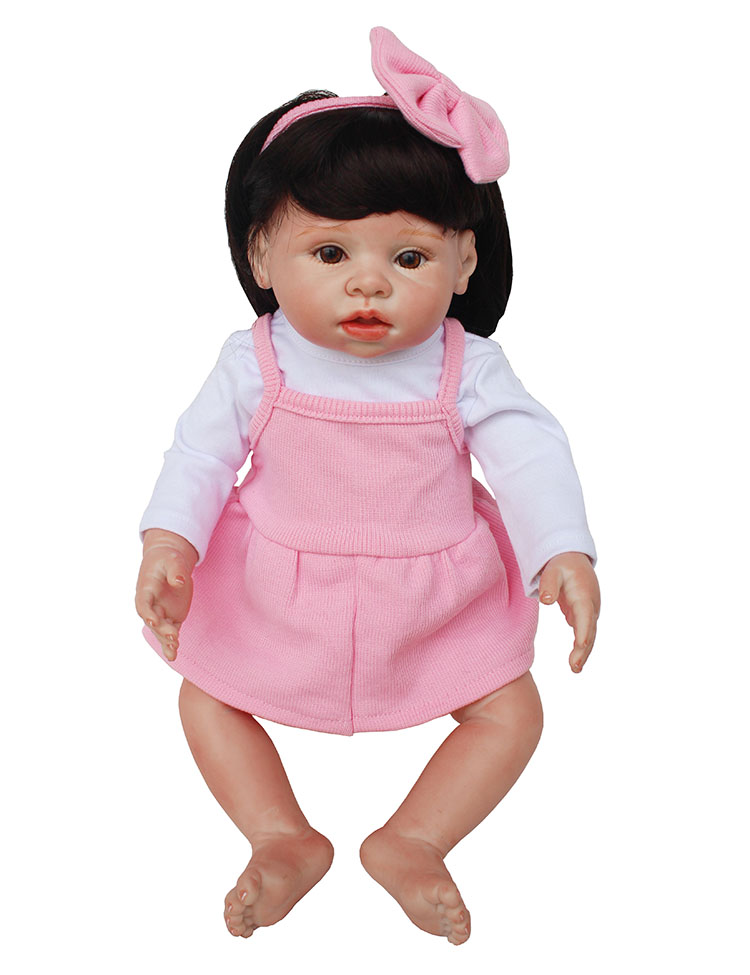 18 Baby Reborn Full Body Silicone reborn  girl  Dolls For child Gift Toys BJD pink princess fake baby  new born alive bonecas18 Baby Reborn Full Body Silicone reborn  girl  Dolls For child Gift Toys BJD pink princess fake baby  new born alive bonecas