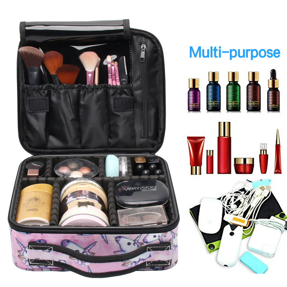 Image 3 - Deanfun Unicorn Makeup Case Multifunctional Cosmetic Bag Travel Organizer Train Cases with Adjustable Dividers 16001-in Cosmetic Bags & Cases from Luggage & Bags