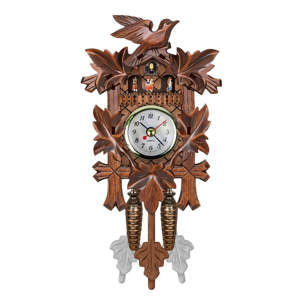 Vintage Home Decorative Bird Wall Clock Hanging Wood Cuckoo Clock Living Room Pendulum Clock Craft Art Clock For New Hous