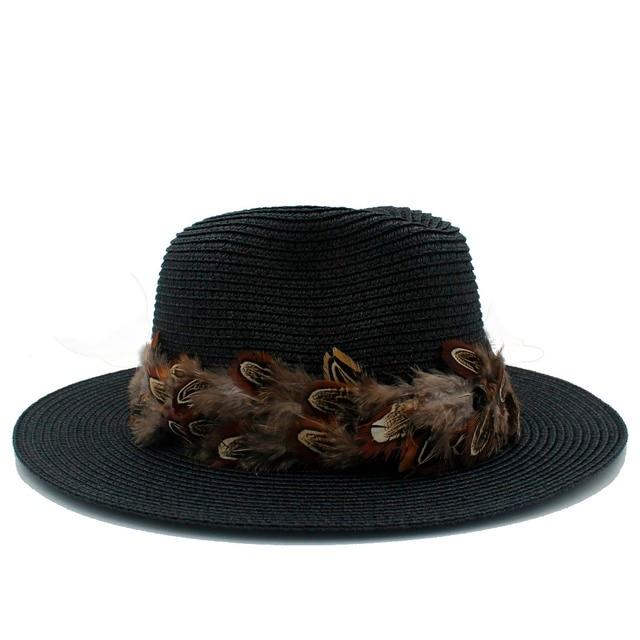 Mulheres da moda Verão Palha Toquilla Fita Pena Panamá Fedora Floppy Chapéu  de Sol Para Senhora 76713f6a099