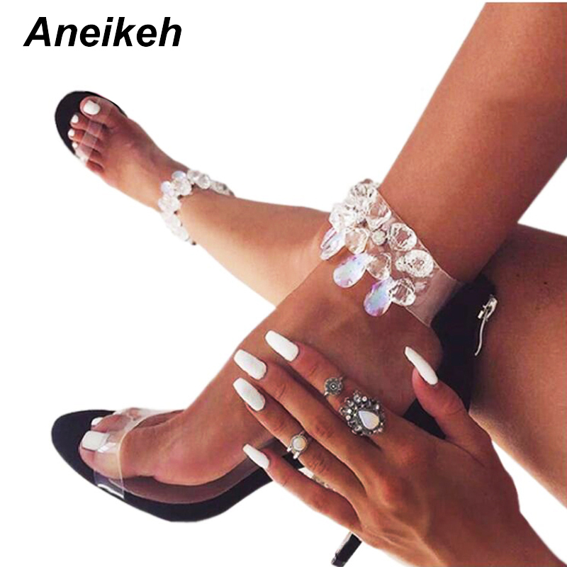 Aneikeh Latest Design Rhinestone PVC Transparent Stiletto Sandals Shoes Crystal Ankle Wrap Lady High Heels Shoes Size 4-9 938-8