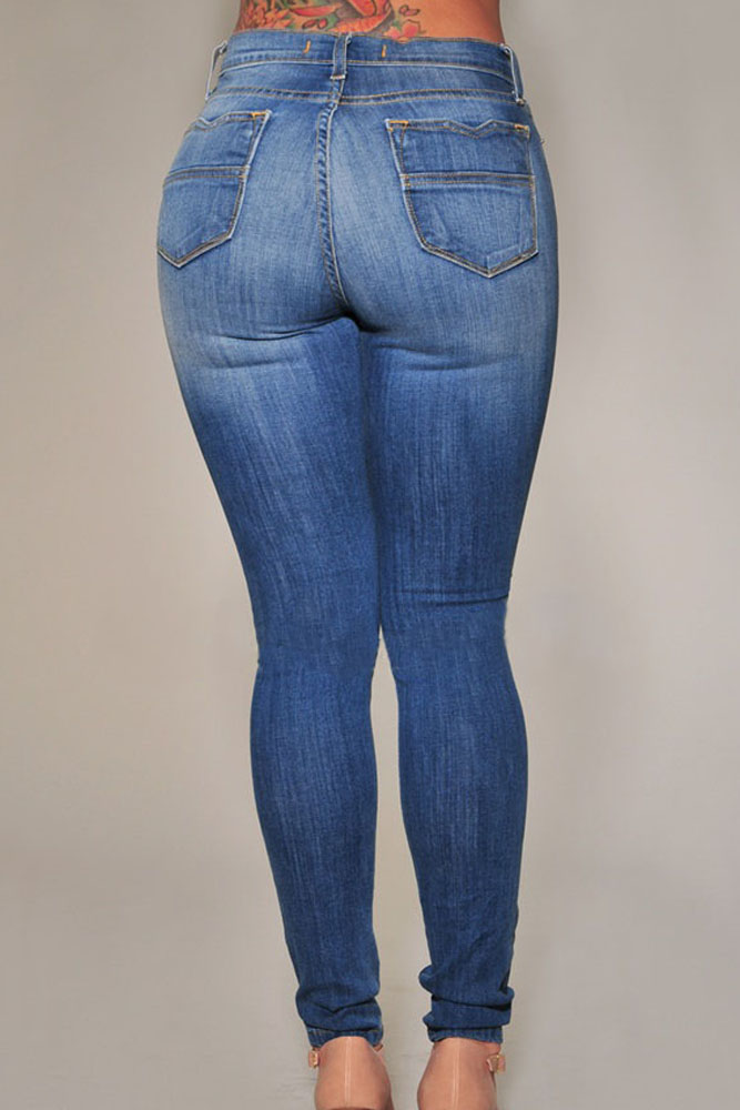 Women Blue Pencil Skinny Pants Ripped Butt Lifting Skinny Jeans ...
