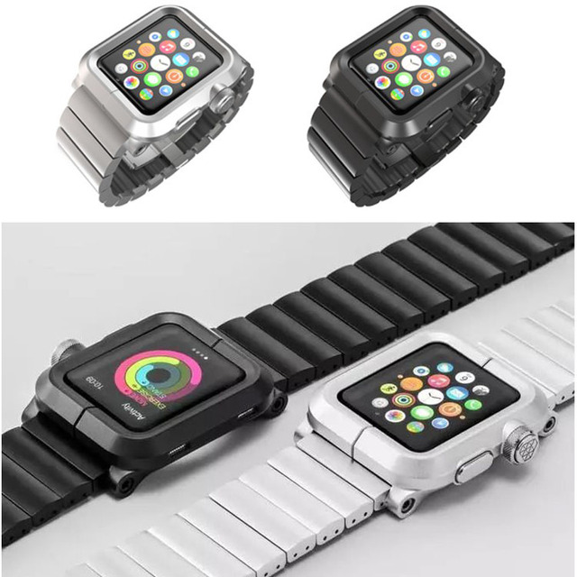 High Quality Aluminum Alloy Metal Cover Protective Case With Aluminum  Metal Strap Watch Band For Apple Watch iWatch 38mm 42mm